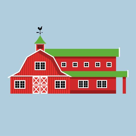 Red Farmhouse Vector Illustration