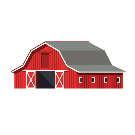 Red farm barn. Vector illustration