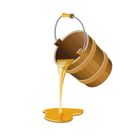 Stream of honey flowing out of a wooden bucket. Vector illustration Vettoriali