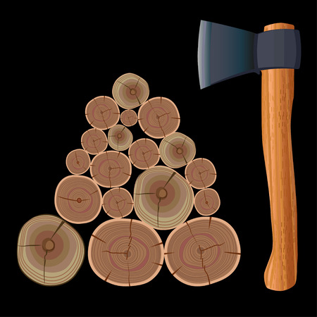 Whole round hardwood logs and ax. Vector illustration