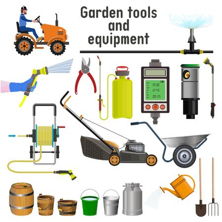 Garden tools and equipment. Vector illustration Illustration