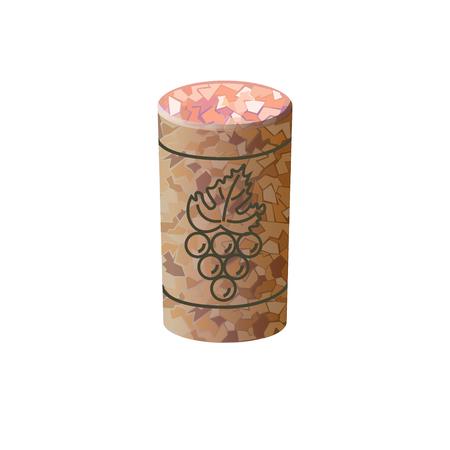 Tappo di vino. Illustrazione vettoriale su sfondo bianco Archivio Fotografico - 83613340