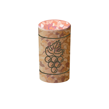 Wine cork. Vector illustration on the white background Çizim