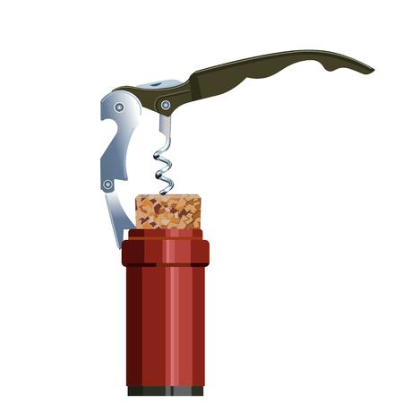 Opening wine bottle. Vector illustration