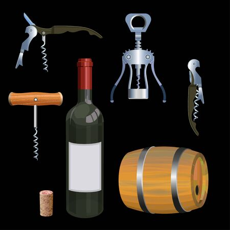 Wine set with corkscrews, barrel and bottle. Vector illustration