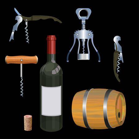 Wine set with corkscrews, barrel and bottle. Vector illustration