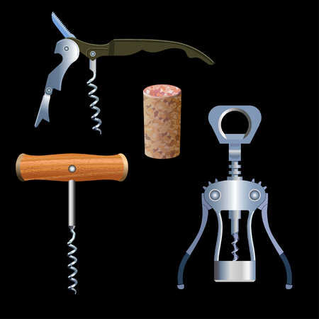 winemaking: Set of vector corkscrews whih cork