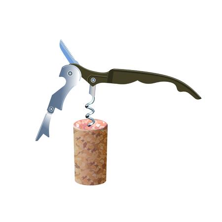 Corkscrews whih cork. Vector illustration