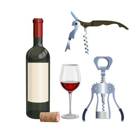 Uncorked bottle of wine with a glass and corkscrew. Vector illustration.
