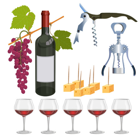 Still life with red wine, grapes and cheese. Vector illustration Illustration