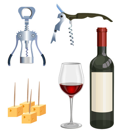 Glass and bottle of red wine, corkscrew and cheese. Vector illustration Illustration
