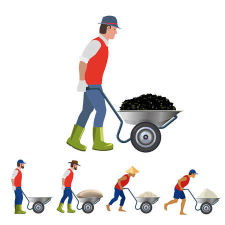 Farmer with a wheelbarrow in various poses. Vector illustrations
