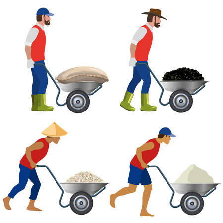 Farmers with a wheelbarrow in various poses. Vector illustrations
