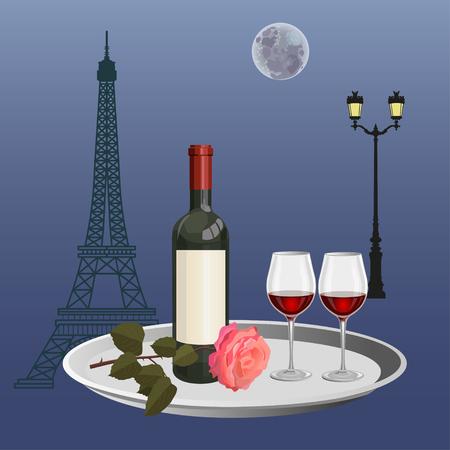 Romantic date in a Parisian cafe. Vector illustration Illustration