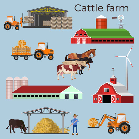 Set of vector illustrations for cattle farm