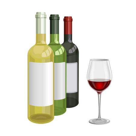 winemaking: Bottles and a glass of wine. Vector illustration Illustration