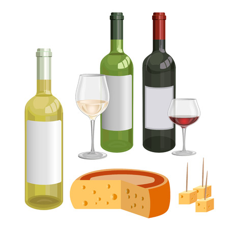 Bottles and wine glasses with wine and cheese