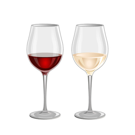 white riesling grape: Glass of red and white wine on a white background Illustration