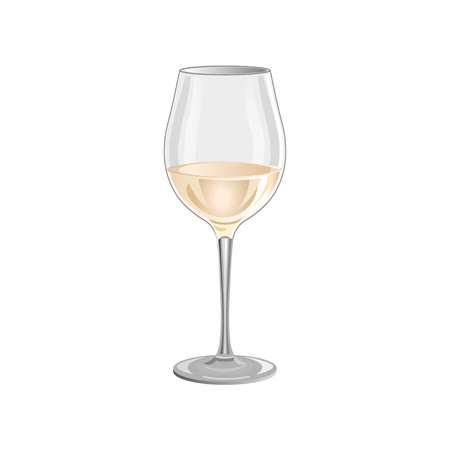 White wine glass isolated on white background