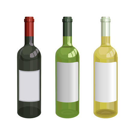 Red, green and white wine bottles. Vector illustration