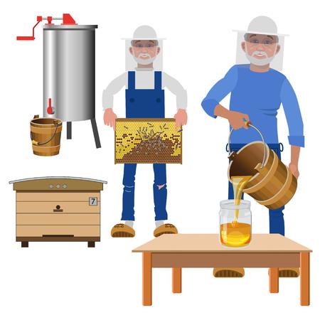 Beekeepers extract honey. Vector illustration Illustration