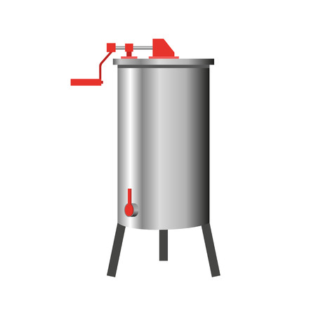 stainless: Stainless steel manual honey extractor. Vector illustration