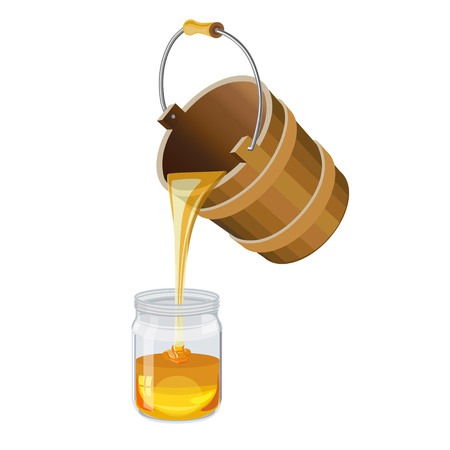Honey pouring from the wooden pail into a glass jar. Vector illustration