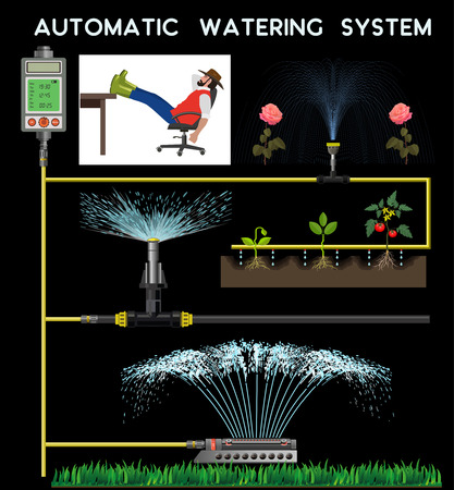 Automatic watering system. Vector illustration on the black background