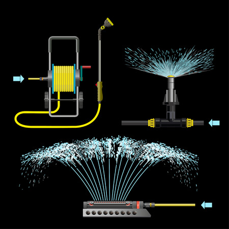 Set of watering equipment. Vector illustration on the black background