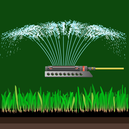 Water sprinkler in action. Vector illustration on the green background