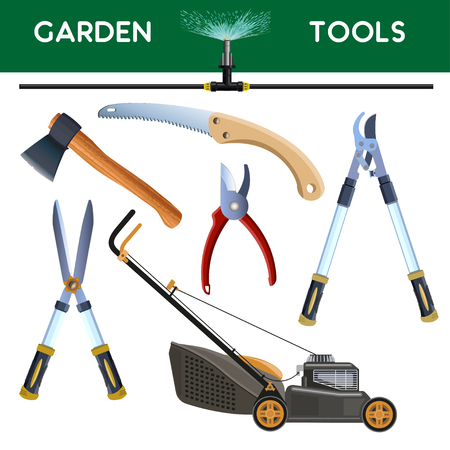 Set of garden cutting tools. Vector illustration