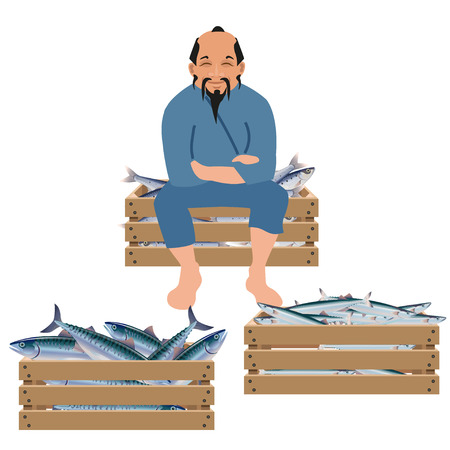Old asian fisherman sells fish in wooden boxes. Vector illustration