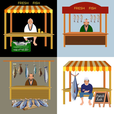 Elderly asian man selling fresh fish. Set of vector illustrations