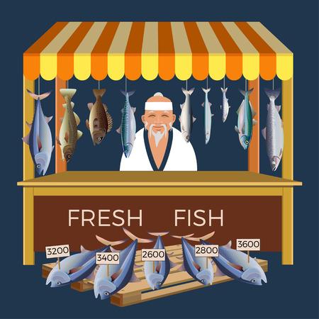 Elderly japanese selling fresh fish