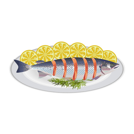 Red fish with lemon cut into pieces on a white plate
