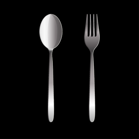Fork and spoon isolated on black background. Vector illustration