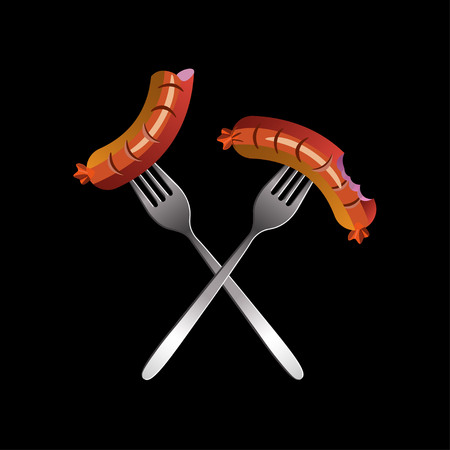 hot dog: Crossed forks with bitten sausages. Vector illustration Illustration