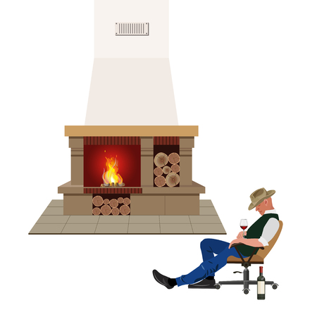 Man sleeping in chair in front of a fire place Stock Vector - 85466595