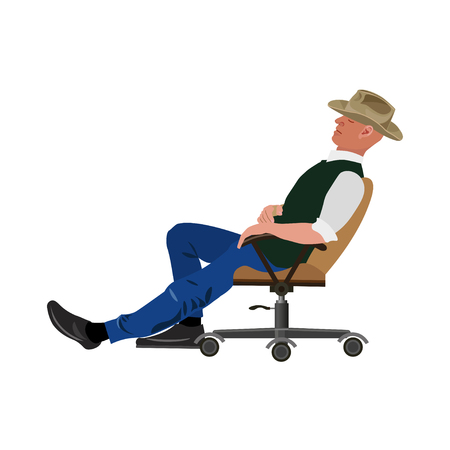 Man sitting in an armchair with an outstretched one leg. Vector illustration Illustration