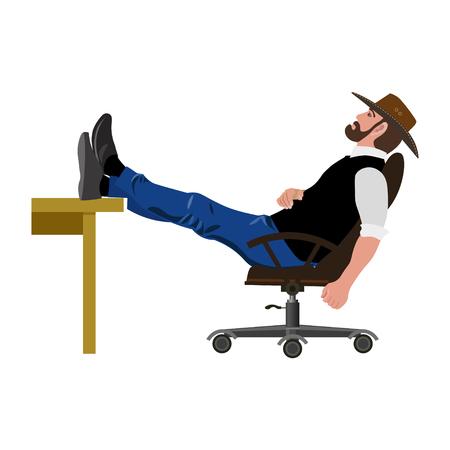 Man sitzt im Stuhl mit Beinen auf dem Tisch. Vektor-Illustration Standard-Bild - 85466598