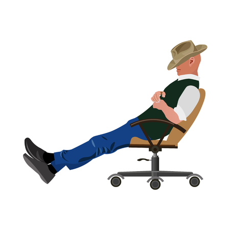 Man sleeping on chair and bowed his head to his chest. Vector illustration Illustration