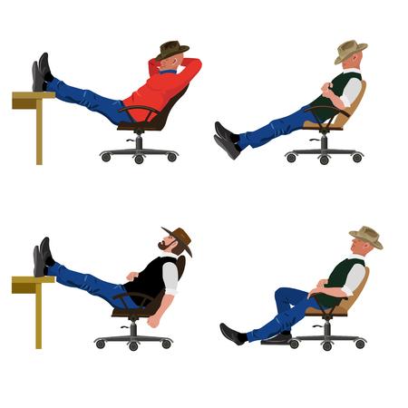 Satz Vektormänner, die auf einem Stuhl in den verschiedenen Posen sitzen. Standard-Bild - 85466600