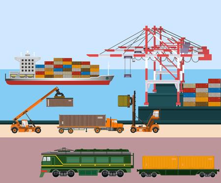 Containerschip bij vrachthaventerminal. Uitrusting en transport. Vector illustratie
