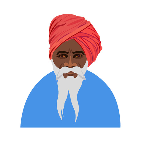 Indian old man in traditional clothes. Vector illustration