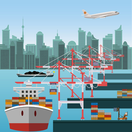 Maritime container terminal. Sea port. Vector illustration