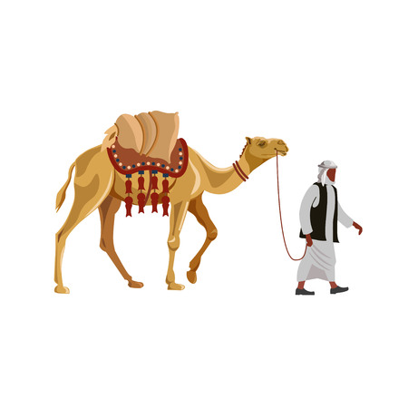 Arab man leading laden camel. Vector illustration isolated on white background