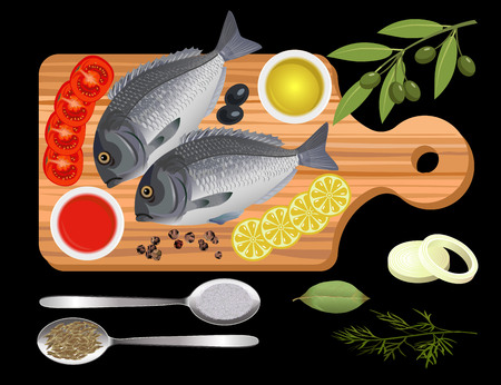 Fish on a cutting board with spices and vegetables. Vector illustration on the black background