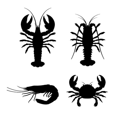 Set of vector silhouettes lobster, crab, spiny lobster and shrimp.