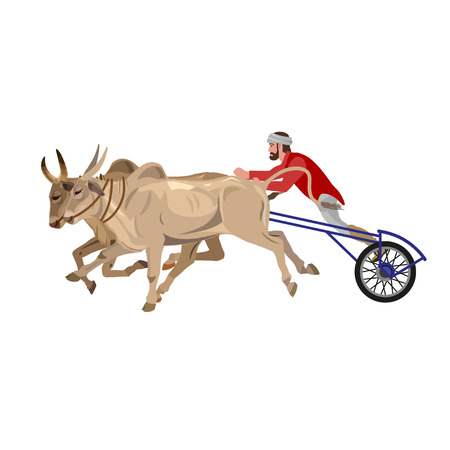 rural india: Bullock cart race. Vector illustration isolated on the white background Illustration