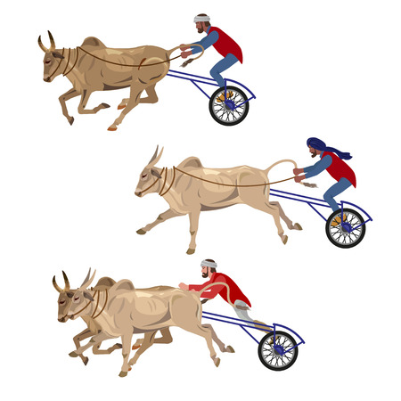 rural india: Bullock cart race set. Vector illustration isolated on the white background